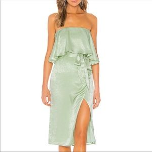 Green lovers + friends midi dress with bow small